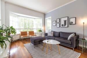 huis, wit, grijs, interieur, modern, woonkamer