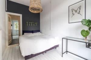 huis, wit, zwart, slaapkamer, modern