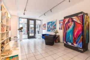 galerie, kunst, ramen, licht, ingang