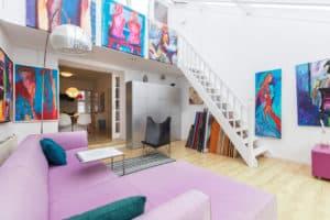 woonkamer, ensuite, kleur, kunst, trap