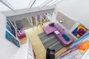 vide, huiskamer, kleur, licht, kunst, trap