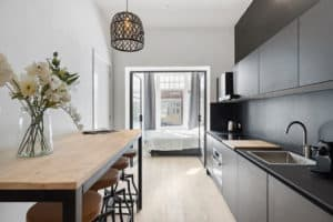 keuken, zwart, slaapkamer